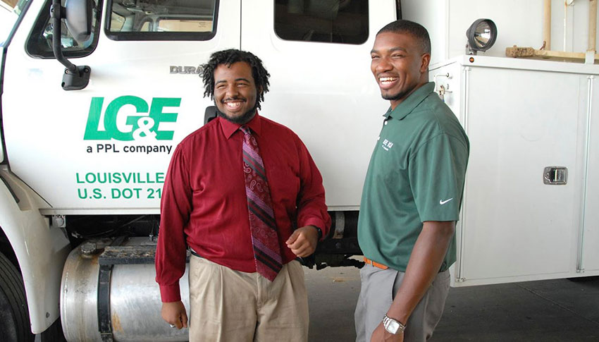 Little Brother Markel and Big Brother Antoine at LG&E, where they participate in Big Brothers Big Sisters of Kentuckiana's workplace mentoring program.