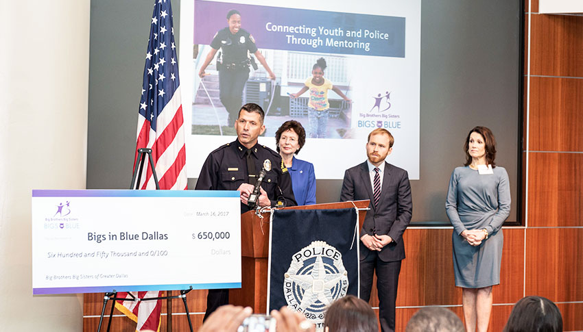 Dallas Assistant Police Chief Paul Stokes, BBBSA President and CEO Pam Iorio, and BBBS Lone Star